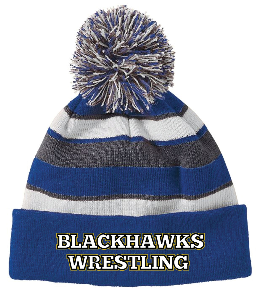 BlackHawks Wrestling Pom Beanie - Royal