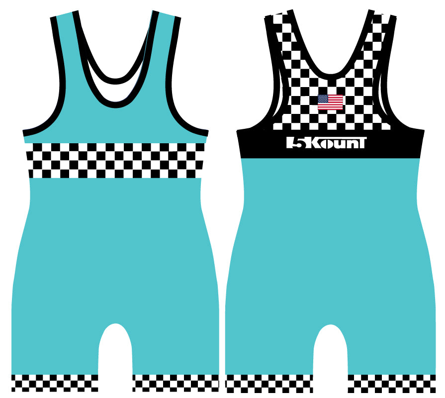 Checkerboard Sublimated Singlet- Neon Blue