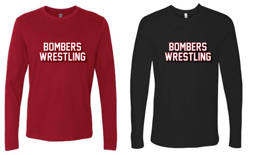 Boonton Bombers Wrestling Long Sleeve cotton Tee - Red/Black