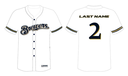 Brewers Baseball Sublimated Game Jersey - White - 5KounT2018