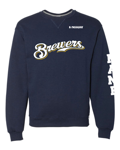 Brewers Baseball Russell Athletic Cotton Crewneck Sweatshirt - Navy - 5KounT2018