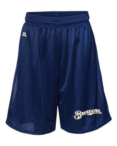Brewers Baseball Russell Athletic Tech Shorts - Navy - 5KounT2018