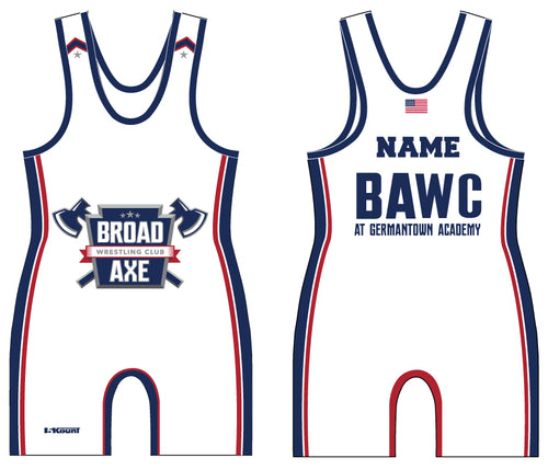 Broad Axe Wrestling Club Sublimated Singlet - White