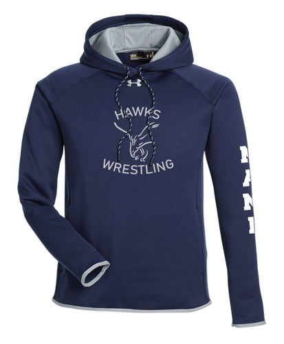 CMS Hawks Wrestling Under Armour Men's Double Threat Armour Fleece® Hoodie - Navy - 5KounT2018