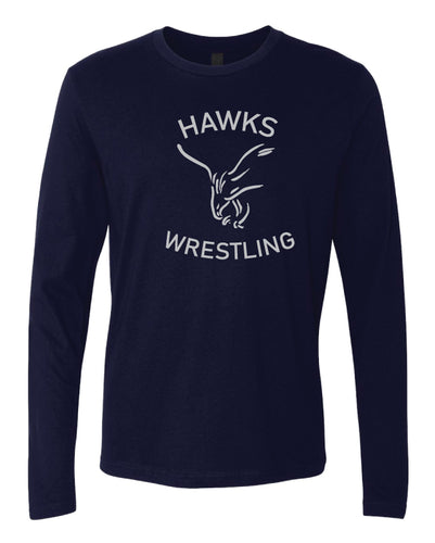 CMS Hawks Wrestling Long Sleeve Cotton Crew - Navy - 5KounT