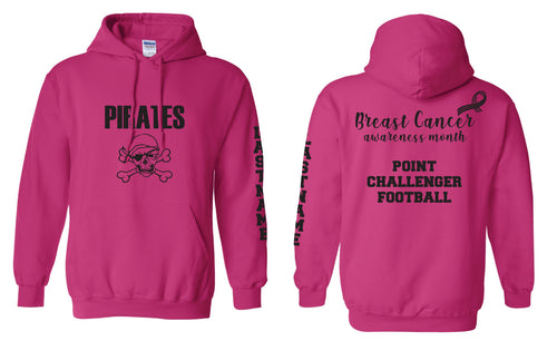 Challenger Football Breast Cancer Cotton Hoodie - Pink Heliconia - 5KounT