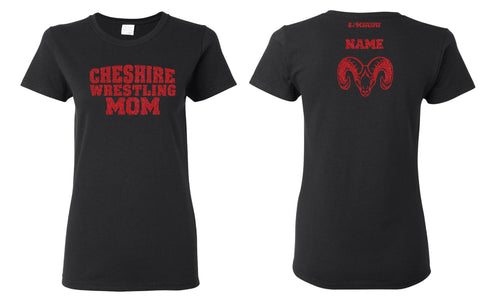 Cheshire Rams Glitter Cotton Crew Tee - Black w/ Red Glitter - 5KounT