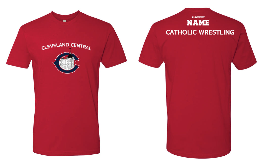 Cleveland Central Catholic Wrestling Cotton Crew Tee - Navy/Red