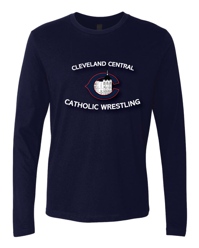Cleveland Central Catholic Wrestling Long Sleeve Cotton Crew - Navy