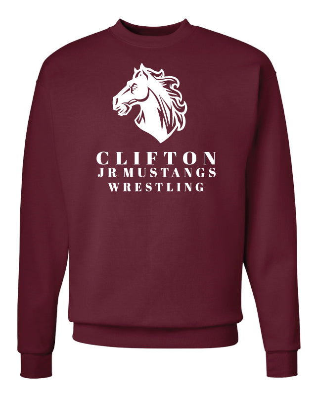 Clifton Jr. Wrestling Crewneck Sweatshirt - Cardinal