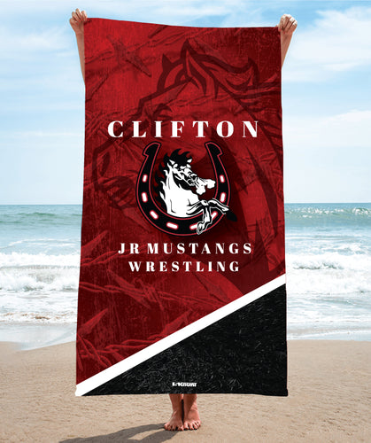 Clifton Jr. Mustangs Wrestling Sublimated Beach Towel - 5KounT2018