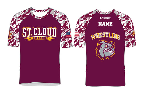 St. Cloud HS Wrestling Camo Sublimated Fight Shirt - Marron/Grey