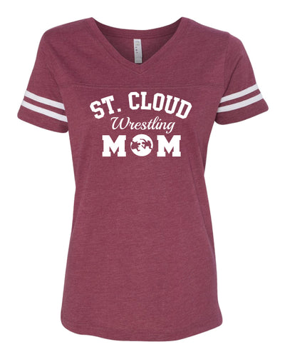 St. Cloud HS Wrestling V-Neck Baseball Shirt Mom - Maroon/Grey
