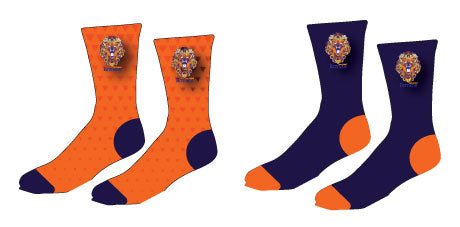 The Point Sublimated Socks - Navy/Orange