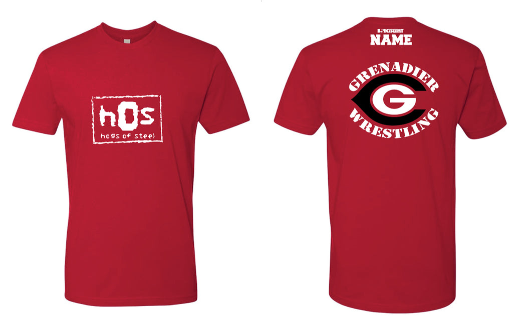 Colonial High School Wrestling Cotton Crew Tee - Red - 5KounT