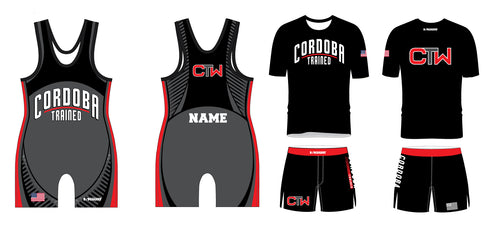 Cordoba Trained Wrestling Package black singlet, Shirt and Board Shorts