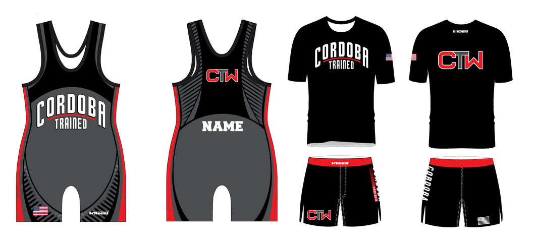 Cordoba Trained Wrestling Package black singlet, Shirt and Board Shorts - 5KounT2018