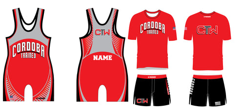 Cordoba Trained Wrestling Package Red singlet, Shirt and Board Shorts