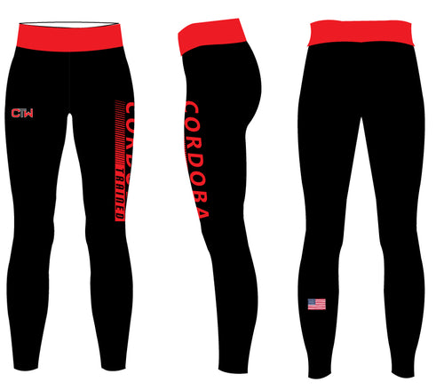 Cordoba Trained Sublimated Ladies Legging Red/Gray/Black