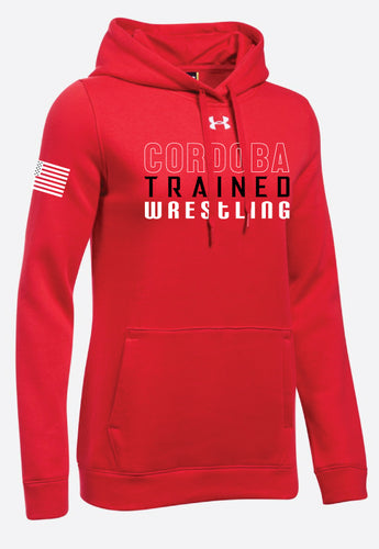 Cordoba Trained Under Armour Performance Hoodie Sweatshirt Woman Red/Gray/Black