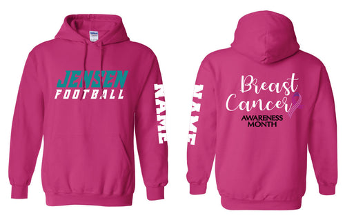 Jensen Beach Falcons Football Cotton Hoodie Cancer Awareness
