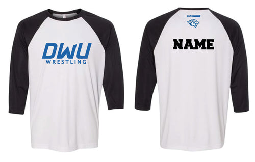 Dakota Wesleyan Univ Wrestling Baseball Shirt - Black/White