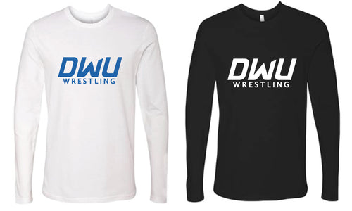 Dakota Wesleyan Univ Wrestling Long Sleeve cotton Tee - White/Black