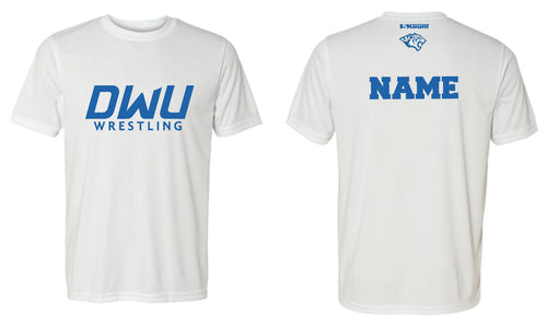 Copy of Dakota Wesleyan Univ Wrestling DryFit Performance Tee - White