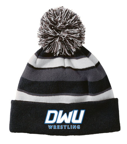 Dakota Wesleyan Univ Wrestling Pom Beanie - Black / White / Grey