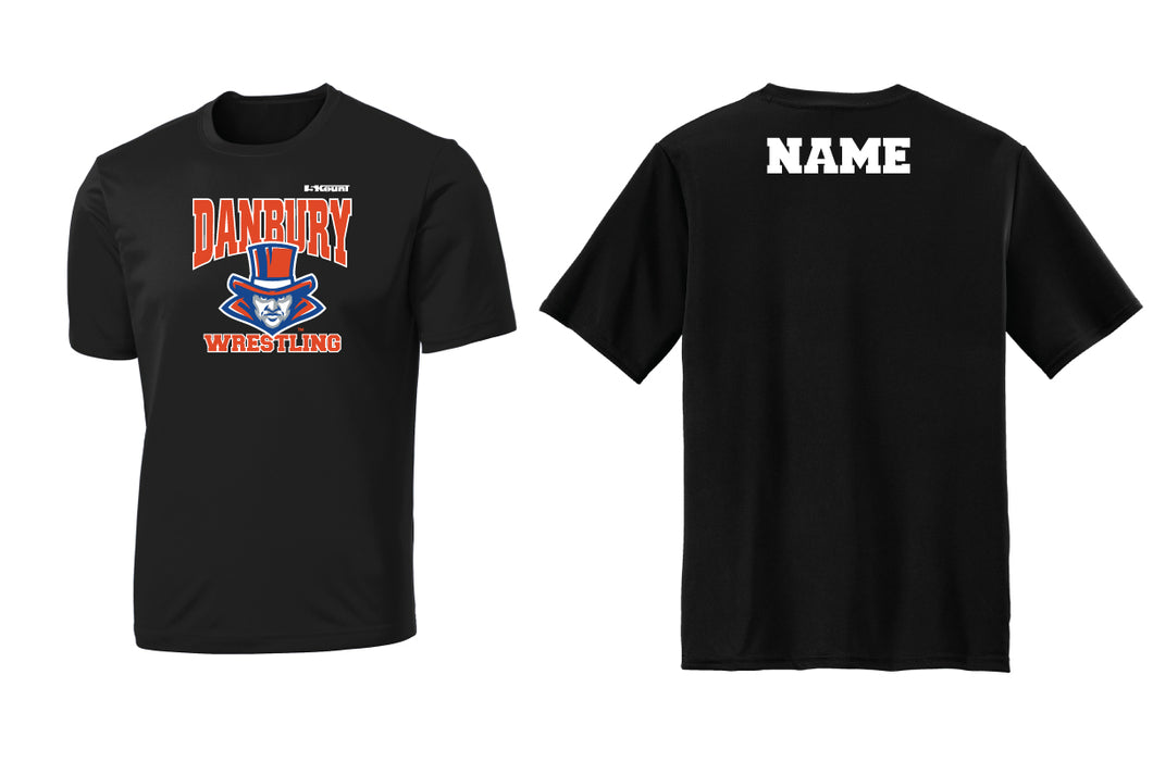 Danbury HS Wrestling Dryfit Performance Tee - Black/Silver