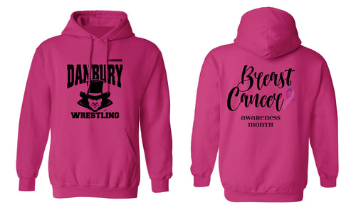 Danbury HS Wrestling Cotton Hoodie Cancer Awareness - Pink - 5KounT2018