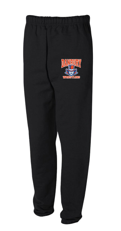 Danbury HS Wrestling Cotton Sweatpants - Black - 5KounT2018