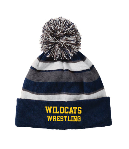 Del Val Wildcats Wrestling Pom Beanie - Navy