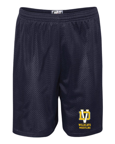 Del Val Wildcats Wrestling Tech Shorts - Navy