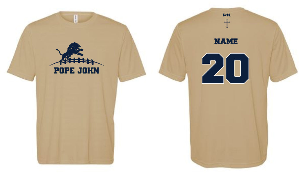 Pope John Football DryFit Performance Tee - Gold