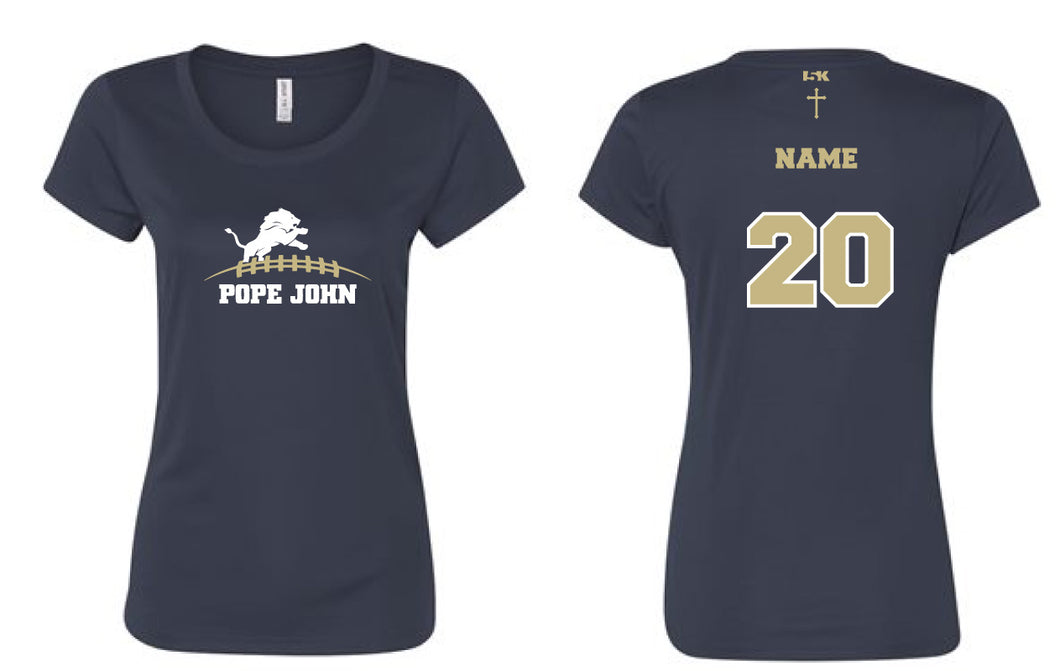 Pope John Football DryFit Performance Tee Women - Navy