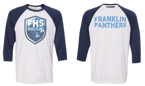 Franklin HS Wrestling Baseball Shirt - Navy/White