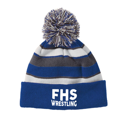 Franklin HS Wrestling Pom Beanie - Royal/White/Grey