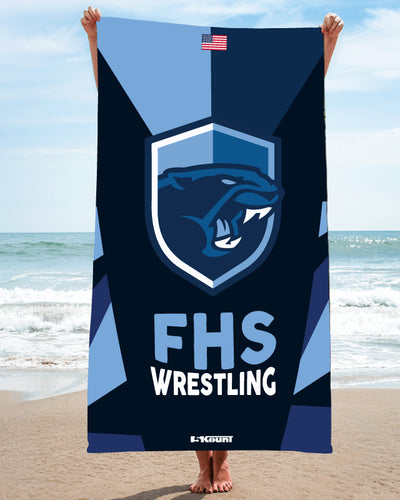 Franklin HS Wrestling Sublimated Beach Towel