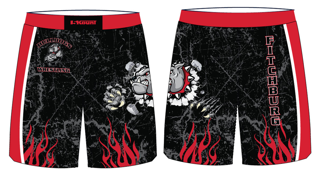 Fitchburg Youth Wrestling Sublimated Fight Shorts - Black