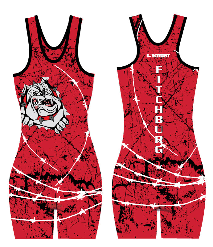 Fitchburg Youth Wrestling Women Sublimated Singlet - Red - 5KounT