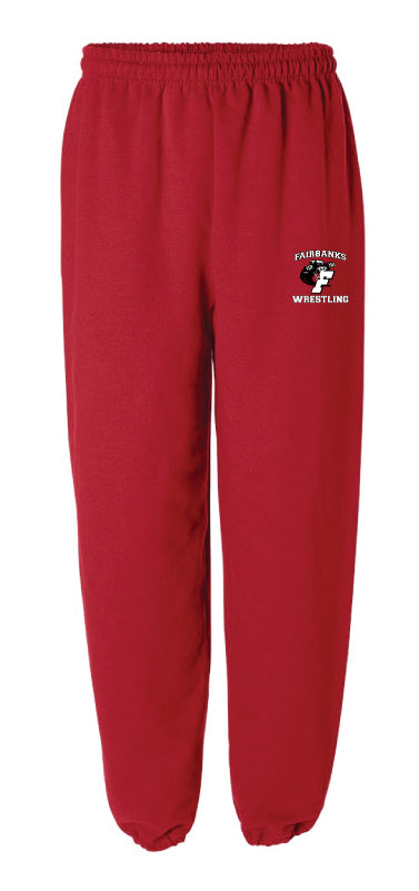 Fairbanks HS Wrestling Cotton Sweatpants - Red