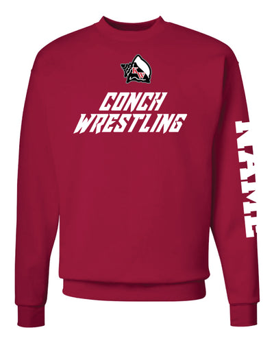 Key West Fighting Conchs Wrestling Crewneck Sweatshirt - Red