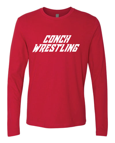 Key West Fighting Conchs Wrestling Long Sleeve Cotton Crew - Red