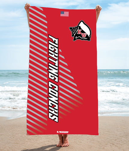 Key West Fighting Conchs Wrestling Sublimated Beach Towel