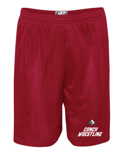 Key West Fighting Conchs Wrestling Tech Shorts - Red