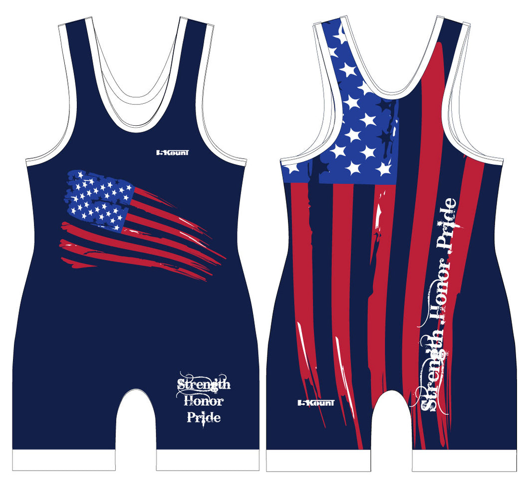 Strength Honor Pride Singlet - Blue - 5KounT2018