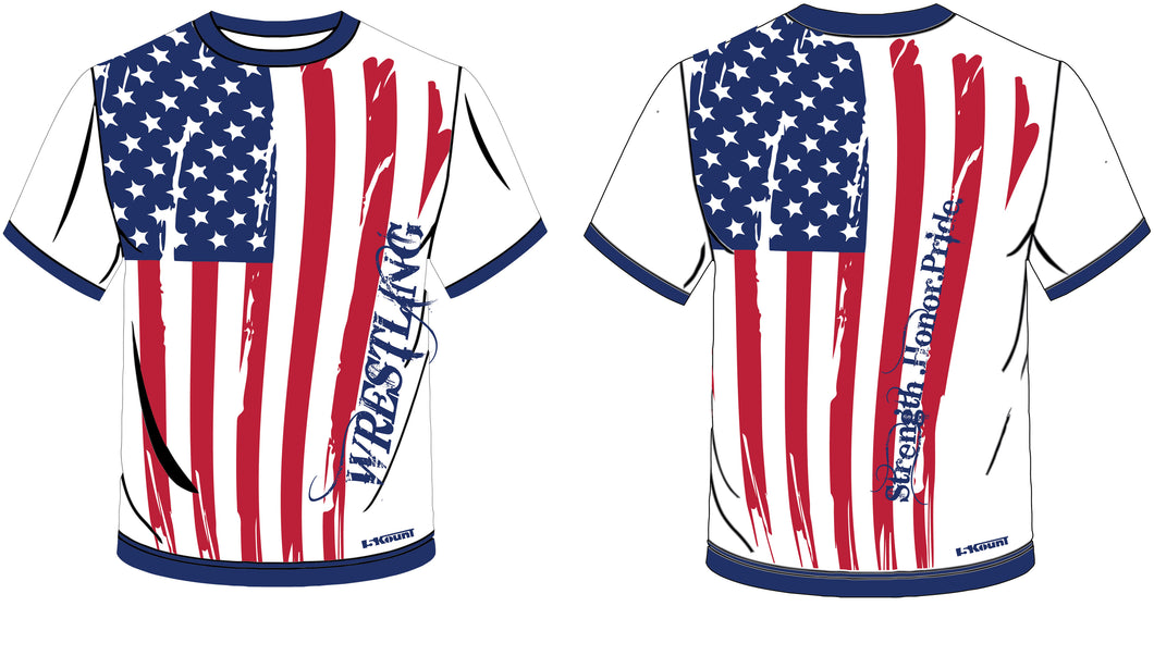 5Kount American Flag Sublimated Wrestling Fight Shirt - 5KounT2018