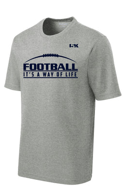 Football is a Way of Life Dryfit Performance Tee - Grey