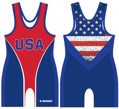 Freestyle Sublimated Singlet- Flag/Blue